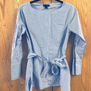 J.Crew Striped Boatneck Dress Shirt
